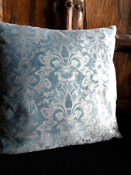 Victorian Gothic Damask Cushion - silver ink on Blue Velvet