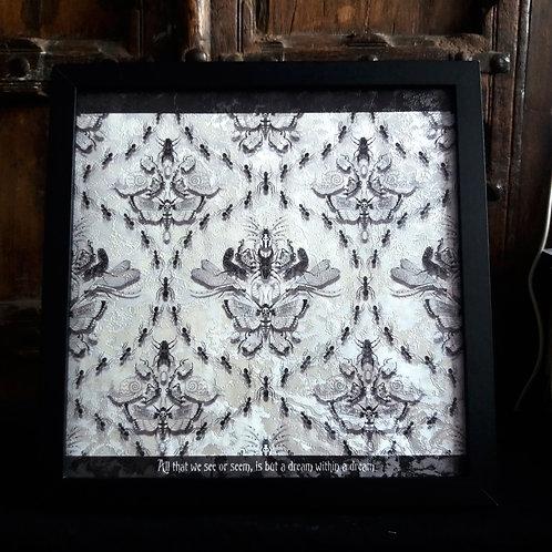 Insect Damask Framed Wallpaper Print - White