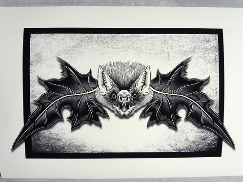 Mr. Bat Print -  Black and white A3 or A4