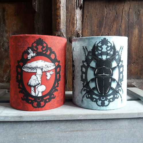 small fabric lantern - 'Toadstool or Stag Beetle'