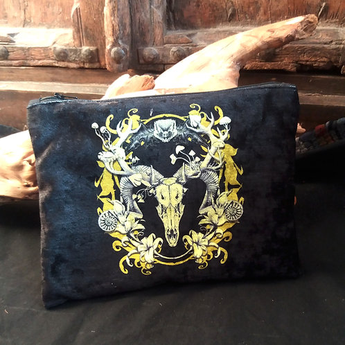 Large Velvet Zip Pouch - Spring resurrection- Black and Gold