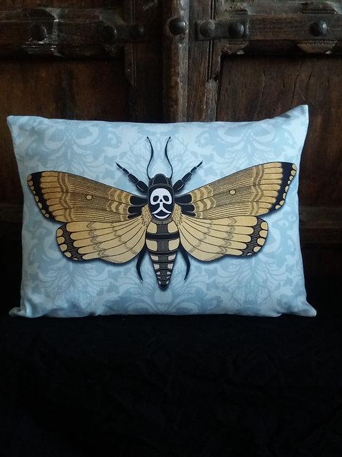 Deaths Head Hawk Moth - blue Cushion (Faux Suede)