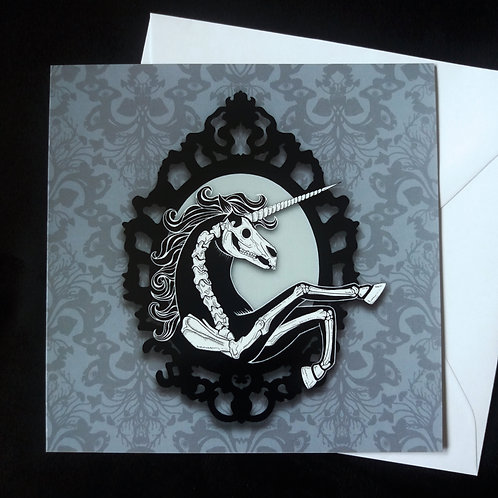 "Skeleton unicorn - 6"" square greetings card"