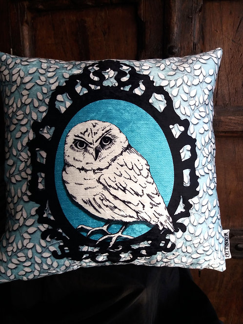 Winter Owl Cushion - Bayeux Velvet