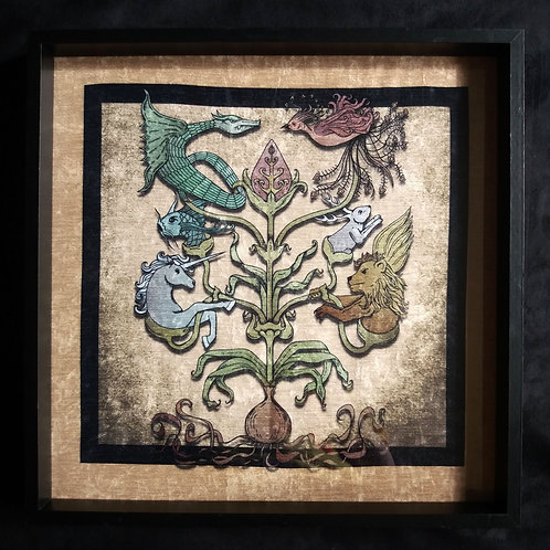 """16"""" Framed Velvet Art Print - Mythological Totem"""