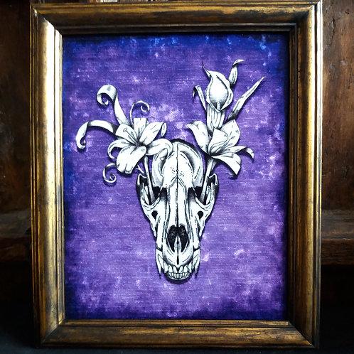 Framed Bayeux Velvet fabric print - Wolf Skull