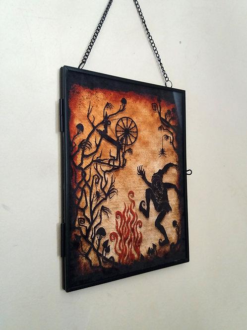 Framed Velvet fabric Art print - Rumplestiltskin - Orange