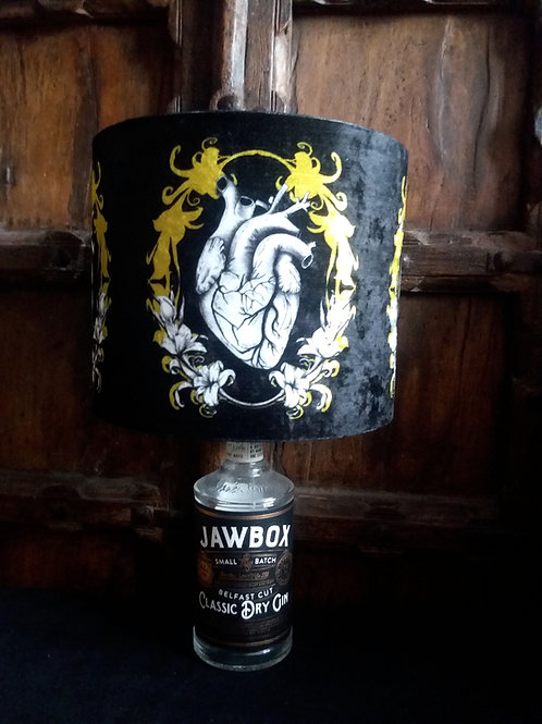 """Bottle lamp with 25cm (10"""") Lamp shade - AnatomicalHeart black and Gold"""