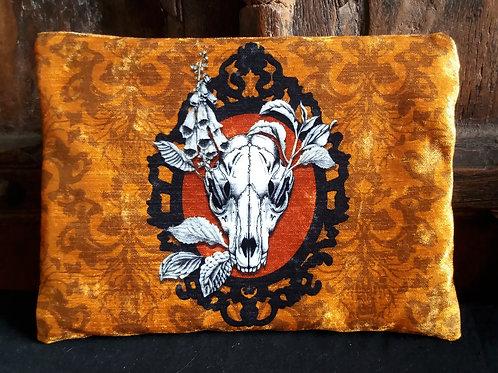 Large Velvet Zip Pouch - Fox Skull - Orange