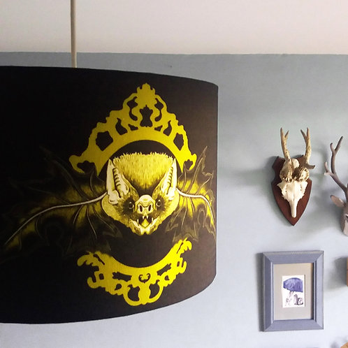 "40cm (16"") Lightshade - 'Mr. Bat' black and gold"
