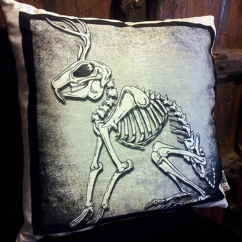 Jackalope Skeleton Cushion - (Bayeux Velvet)
