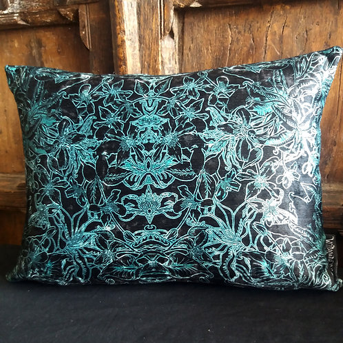 Gothic Floral Cushion - Black and Green
