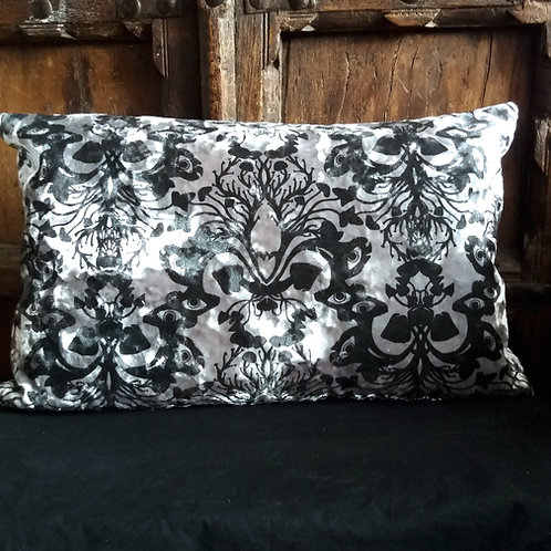 Victorian Gothic Damask Cushion - Marble Silver with Black ink