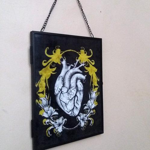 Framed Velvet fabric Art print - Anatomical Heart black and gold