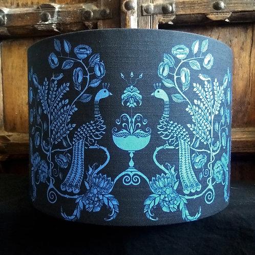 "40cm (16"") Lightshade - 'Peacock Chalice' blue/black"
