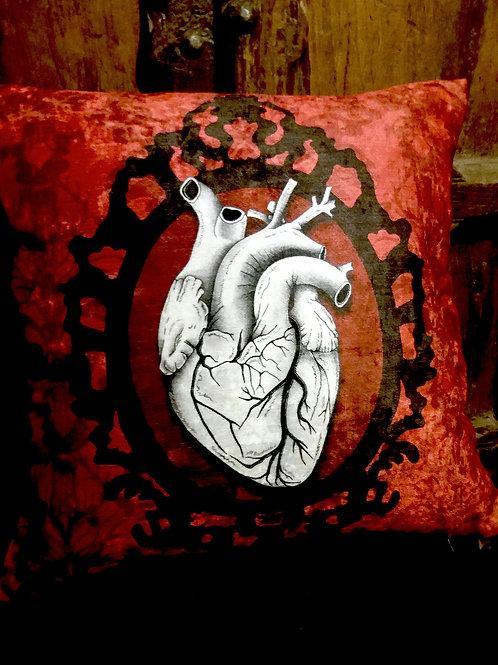 Anatomical Heart Cushion - Framed (Bayeux Velvet)