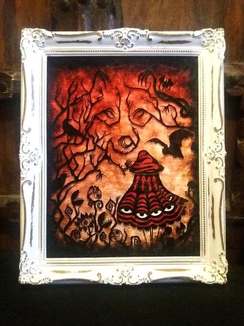Framed Bayeux Velvet fabric print - Little Red Riding Hood
