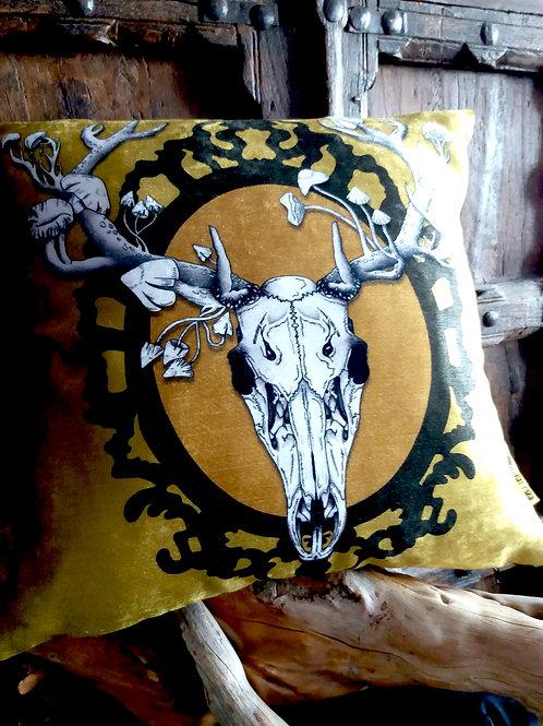 Autumn Deer Skull Cushion - (Bayeux Velvet)