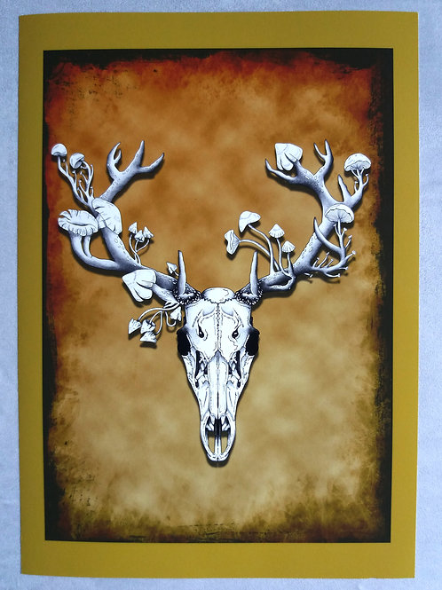 A3 print Deer Skull -  Coloured