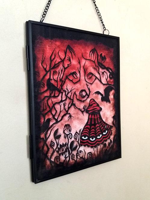 Framed Velvet fabric Art print - Red Riding Hood - red