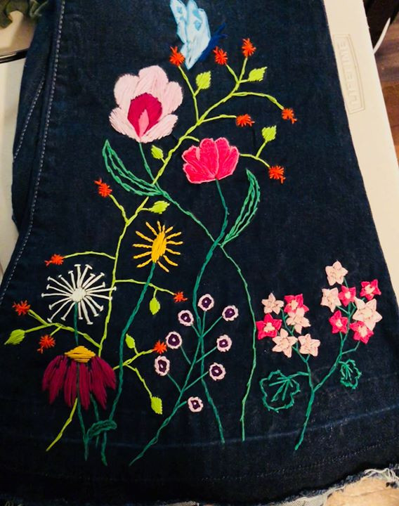 Kalin wears these hand-embroidered jeans in Crimes of the Heart. Embroidery by costumer Katie Harrison.