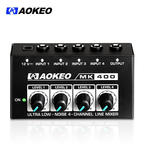 Aokeo MK-400 Super Compact 4-Channel Mono Headphone Amplifier