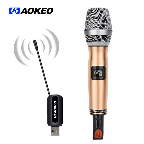 Aokeo V8 UHF Dynamic Vocal Microphone, Selectable Frequencies Wireless Microphon