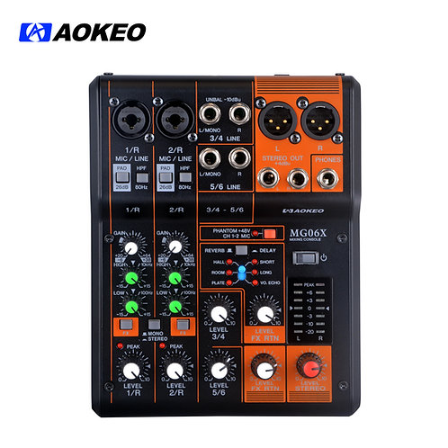 Aokeo MG06X 6-Input Compact Stereo Mixer with Effects