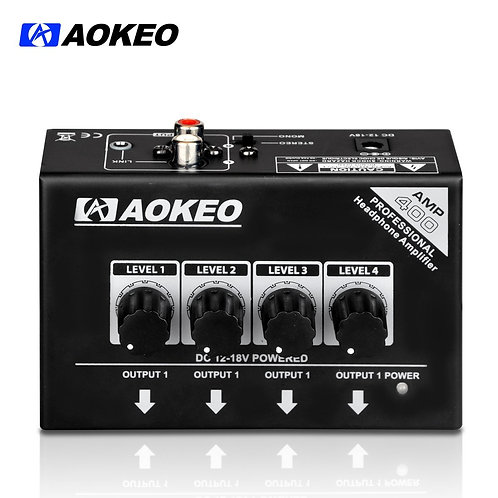 Aokeo AMP-400 Super Compact 4-Channel Stereo Headphone Amplifier
