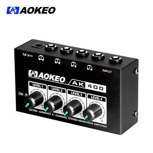 Aokeo AK-400 Super Compact 4-Channel Stereo Headphone Amplifier