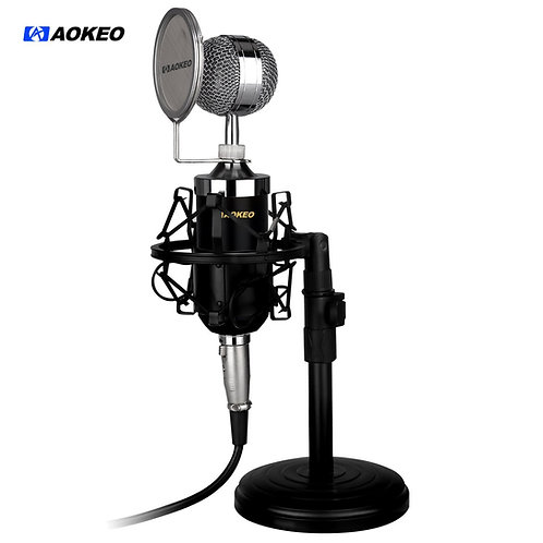 Aokeo AK-15 Desktop Broadcast & Recording Condenser Microphone with Iron Stand