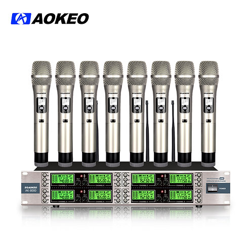 Aokeo AK-8000 8 Channel Wireless Microphone System with 8 Wireless Microphone