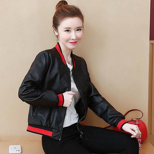 2020 Autumn Winter Women's PU Leather Jacket Tops New Korean Fashion Black Short