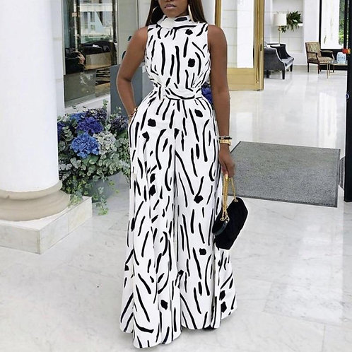 Black White Printed Jumpsuit Sleeveless Wide Leg Fashion Summer New Casual Femal