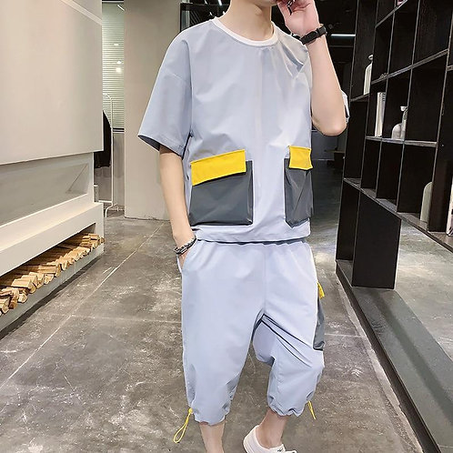 2020 New Summer Men Short Sleeve Tracksuit Two Pieces Set Streetwear T Shirts An