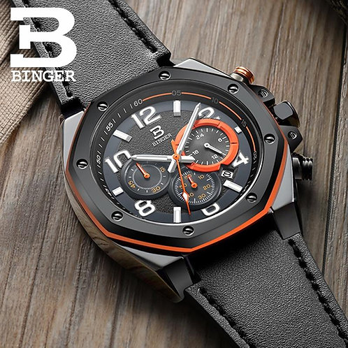 BINGER Mens Watches Top Brand Luxury Quartz Watch Men Calendar Leather Military