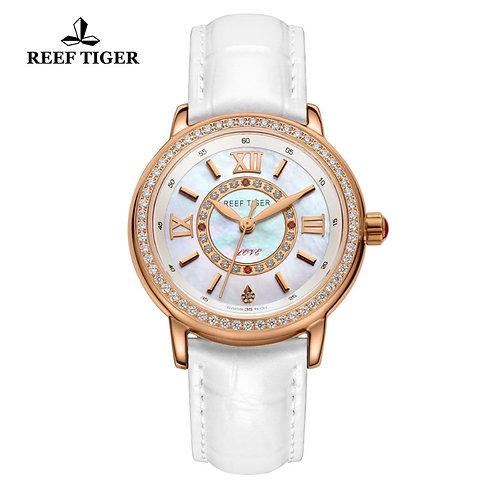 Reef Tiger/RT Women Fashion Watches Diamond Rose Gold Leather Strap Luxury Quart