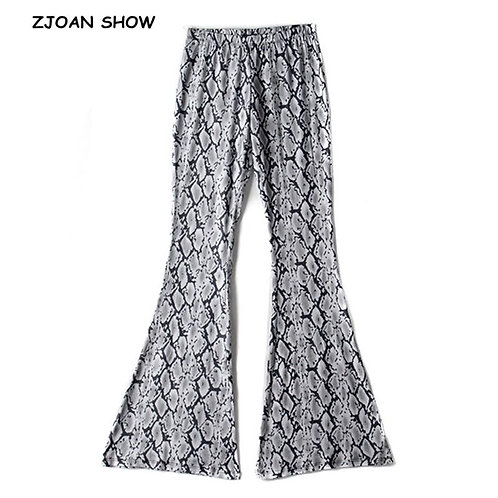 70s Vintage Grey Snake Print Flare Pants Women Bohemian Tribal African Hippie Be