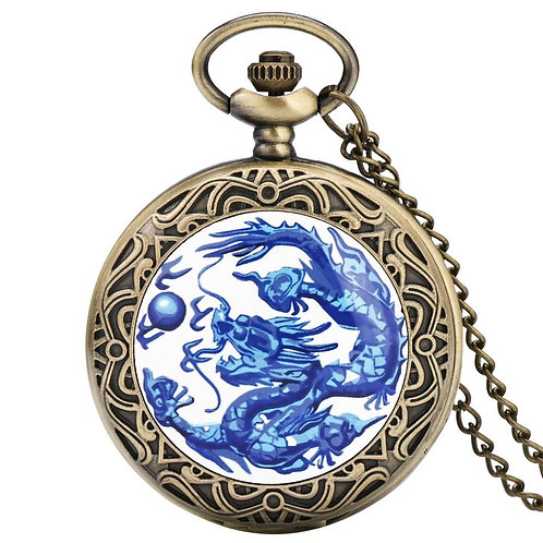 Blue Dragon Display Bronze Quartz Pocket Watch Retro Necklace Pendant Clock Gift