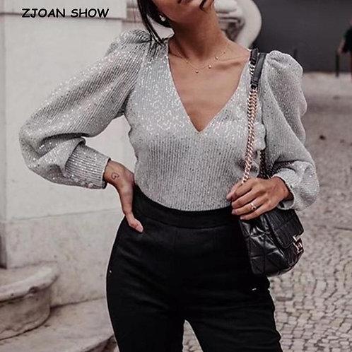 2020 New V neck Stitching Bright Silver Sequins Long sleeve Shirt Elegant Women