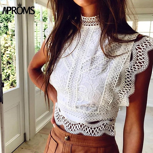 Aproms White Lace Crochet Tank Tops Women Summer Sexy High Neck Hollow out Zippe