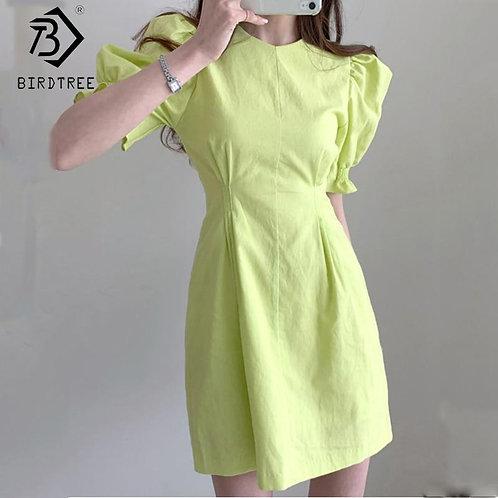 2020 Spring Summer Women's Chic Solid Slim Dresses Vintage Short Puff Sleeve O-N