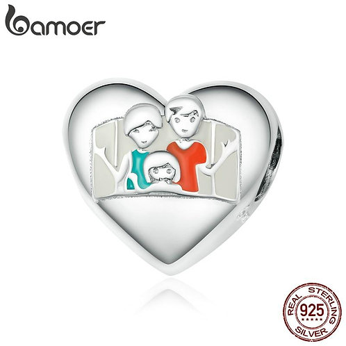 bamoer Warm Family Charm fit Original Bracelets & Bangle 925 Sterling Silver Pla