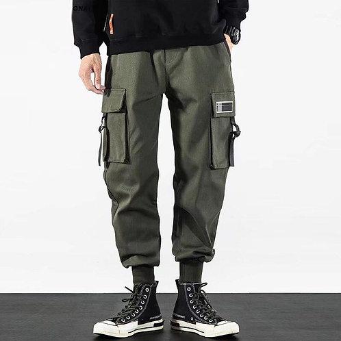 2020 Hip Hop Boy Multi-pocket Elastic Waist Harem Pants Men Streetwear Punk Casu