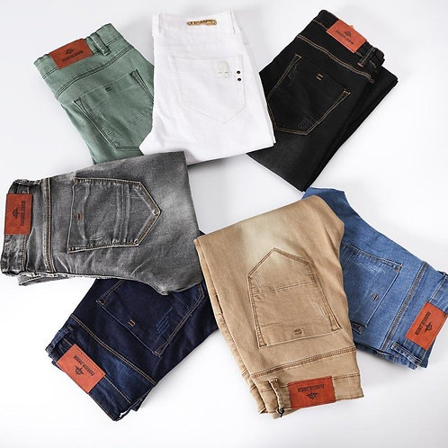 7 Color Men Stretch Skinny Jeans Fashion Casual Slim Fit Denim Trousers Male Gra