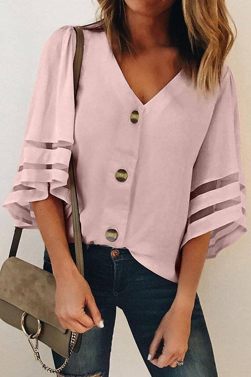 Flare Sleeve V Neck Button Down Blouse