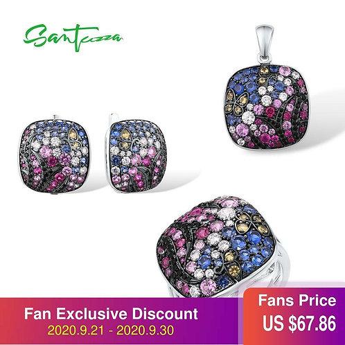 SANTUZZA Jewelry Set For Women 925 Sterling Silver Dazzling Pink Blue Stones Squ