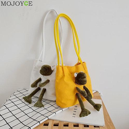 Creative Design Women Handbag Classic Texture Chic Cartoon Frog Funny Cute Plush
