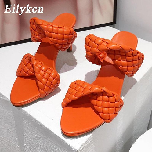 Eilyken Fashion Woman Handmade Weave Knitted Slippers Lady Crossover Open Toe Th