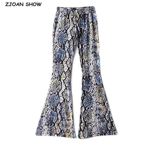 70s Vintage Colored Snake Print Flare Pants Women Bohemian Tribal African Hippie
